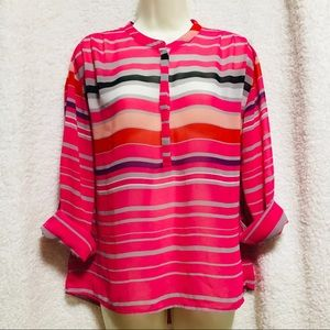 ANA • Pink Multicolor Stripe Sheer Blouse
